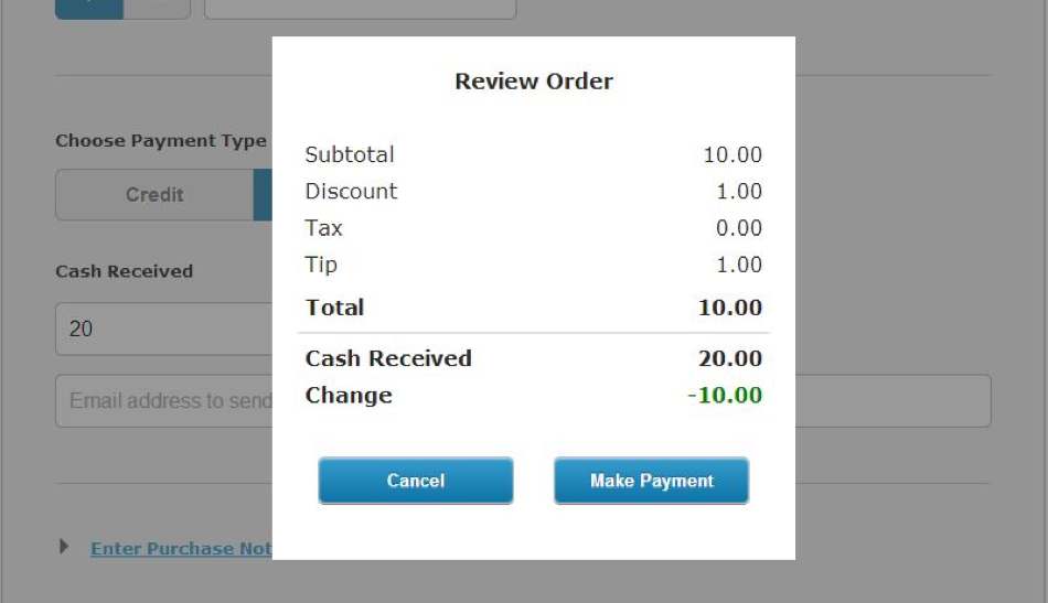 Review Order Cash